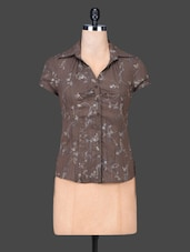 Brown Printed Cotton Nylon Shirt Top - SPECIES