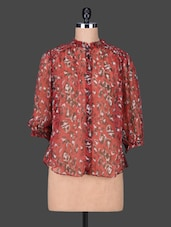 Red Floral Print Cotton Party Shirt - SPECIES
