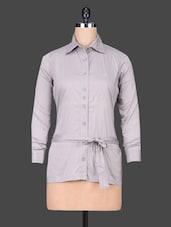 Grey Floral Print Cotton Party  Shirt - SPECIES