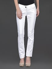 Solid White Regular Fit Trousers - SPECIES