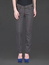 Solid Regular Fit Trousers - By