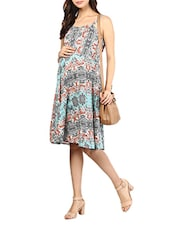 Multicolored Printed Rayon Maternity Dress - Mine4Nine