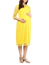 Yellow Floral Lace Maternity Dress - Mine4Nine