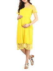 Yellow Maternity Dress With Floral Lace Panels - Mine4Nine