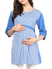 Blue Striped Cotton Maternity Top - Mine4Nine
