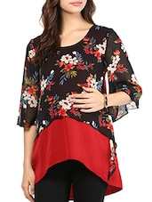 Red And Black Floral Printed Maternity Top - Mine4Nine