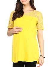 Yellow Cotton Maternity Top - By