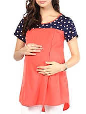 Coral Polycrepe Maternity Top - Mine4Nine
