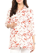 Red And White Printed Cotton Maternity Shirt - Mine4Nine