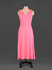 Pink Plain Poly Knit Long Dress - @ 499