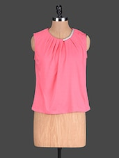 Pink Plain Poly Knit Pleated Top - @ 499