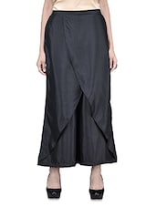 Black Poly Crepe Viscose Plain Half Wrap Palazzo - By