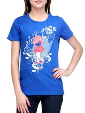 Blue Round Neck Printed T-shirt - Stilestreet