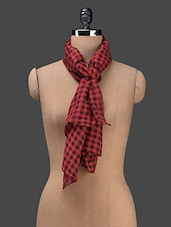 Red Check Printed Poly Cotton Stole - J STYLE