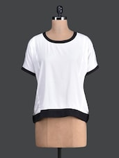 Black Border Round Neck White Top - Label VR