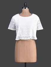 White Lacy Round Neck Crop Top - Label VR