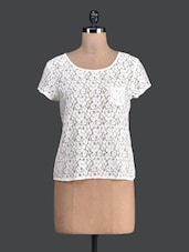 White Lacy Round Neck Top - Label VR