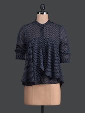 Navy Blue Printed Flared Blouse - Label VR
