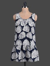 White Leaf Printed Sleeveless Dress - Label VR