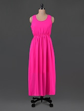 Hot Pink Georgette Maxi Dress - G&M Collections