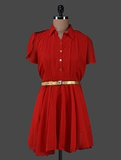 Red Georgette Shirt Dress With Gold Belt - G&M Collections