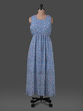 Blue Printed Georgette Maxi Dress - G&M Collections