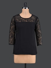 Black Poly Georgette And Poly Lace Top - Vani