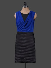 Blue Cowl Neck Black Pleated Dress - Peptrends