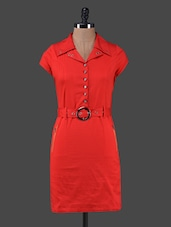 Solid Red Shirt Collar Belted Dress - Peptrends