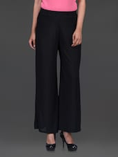 Solid Black Polyester Palazzos - Peptrends