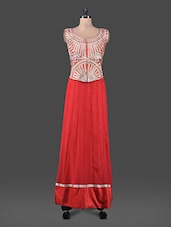 Red Zari Embroidered Maxi Dress - Kiala