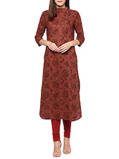 Brown Cotton Printed Kurta - By
