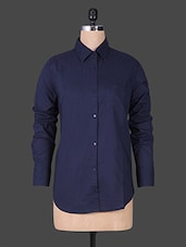 Solid Dark Blue Full Sleeve Shirt - House Of Tantrums