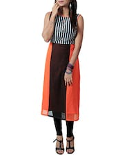 Orange And Brown Georgette Kurta - By