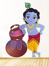 Lord Krishna Multi Colored Leatherette  Sticker - By