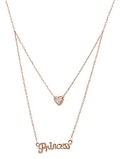 Rose Gold Layered Heart And 'Princess' Pendant Necklace - By