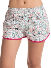 Multicolour Printed Lace Trimmed Cotton Shorts - By