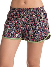 Blue Printed Lace Trimmed Cotton Shorts - By