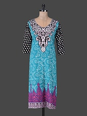 Quarter Sleeves Scroll Printed Cotton Kurta - Delena Designs