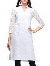 White Color, Cotton Kurta With Lace Sleeves - By