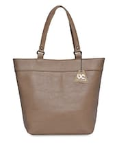 Solid Beige Faux Leather Handbag - UNI CARRESS