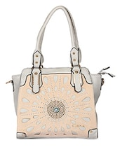Solid Color Textured Cut Work Handle Bag - By