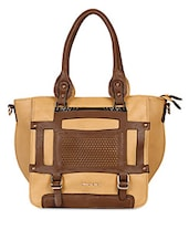 Cut Textured Solid Color Tote Hand Bag - KIARA