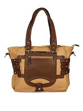 Square Shape Cut Textured Solid Brown Tote Bag - KIARA