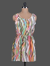Multicolor Abstract Printed Sleeveless A-Line Dress - Sanchey