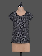 White Dot Printed Black Cotton Top - Sanchey