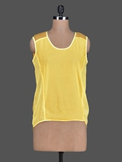 Lemon Yellow Polka Dot Sleeveless Tank Top - Sanchey
