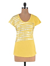 Yellow Cotton Printed Round Neck Top - By