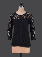 Black Lace Yoke Long Sleeves Shirt - The Cleavage