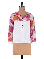 White Chiffon Floral Printed Top - By